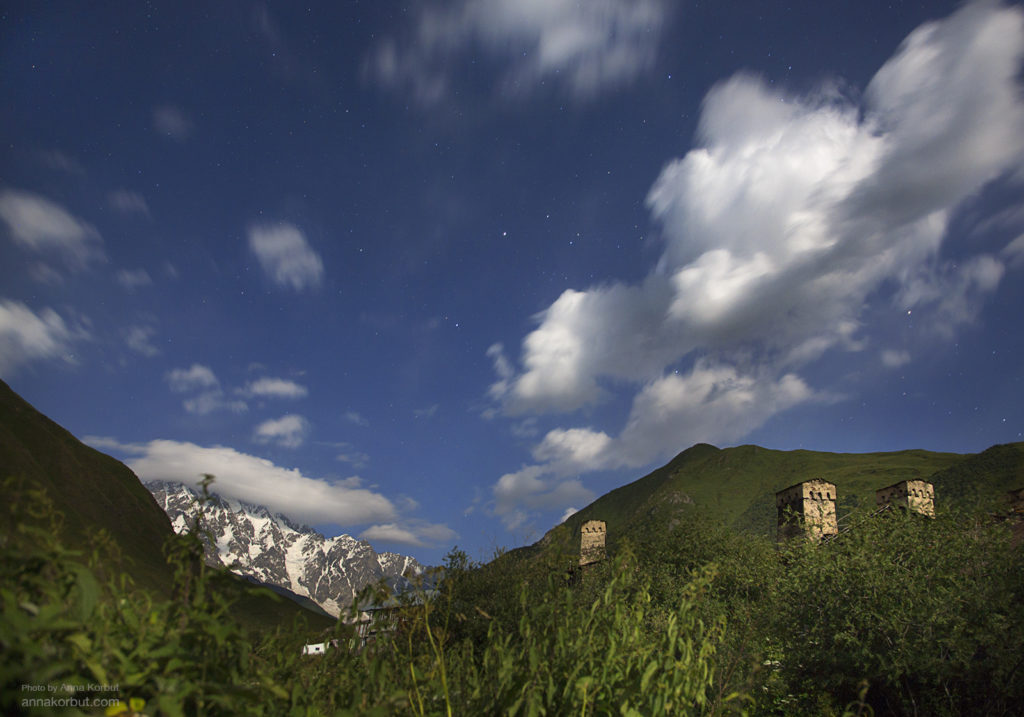 Грузия 2015, Цвирми-Ушгули-Ипрали Svaneti towers in front of Shkhara Glacier at night, 30 sec exposure. We were hiking through Caucasian mountains, in the evening I was looking at the next destination point. Nice clouds came, the moon was lighting towers, I did few shots with stars.